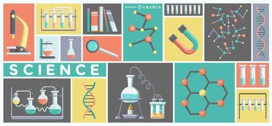 Ilustração de equipamento de laboratório de ciência
