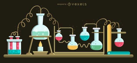 Conjunto de ilustração de frascos de ebulição