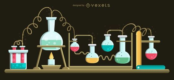Set of Boiling Flasks Illustration