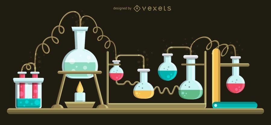Set of Boiling Flasks Illustration