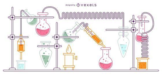 Experiment Flask set Ilustração