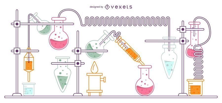 Experimentieren Sie Flasche Set Illustration