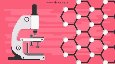 Laboratório de microscópio e ilustração de molécula