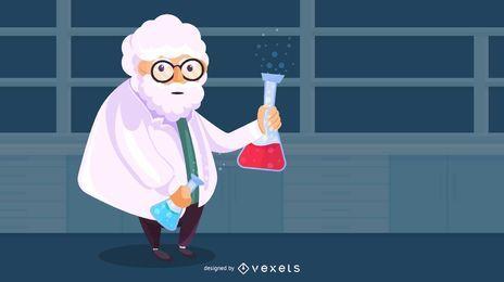 Velho cientista ilustração