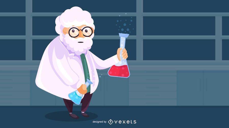 Ilustración de viejo científico