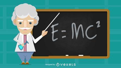 Ilustración de profesor de ciencia antigua