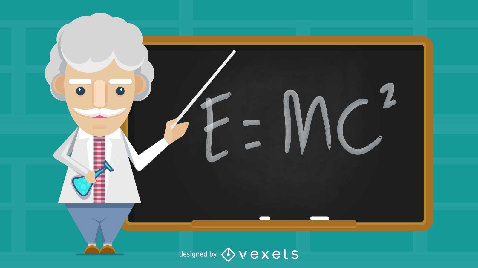 Ilustración de profesor de ciencias antiguas