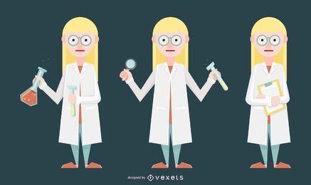 Ilustración de mujer científica