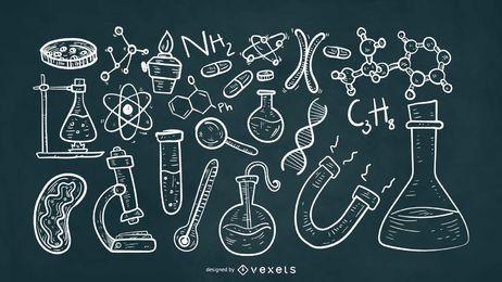 Estilo de giz de elementos científicos