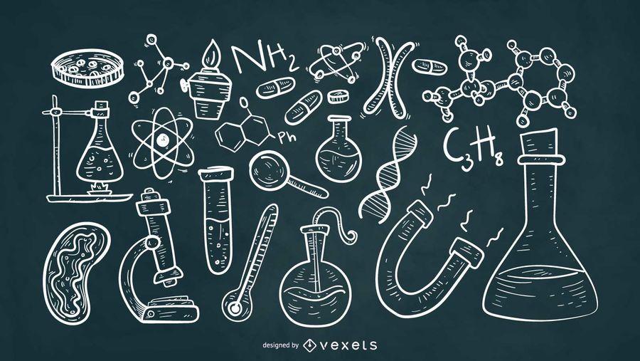 Wissenschaftliche Elemente Kreidestil