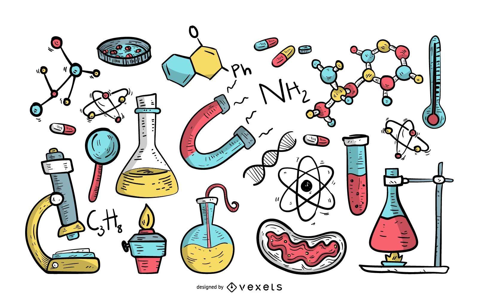 Ilustración de estilo dibujado a mano de elementos de ciencia