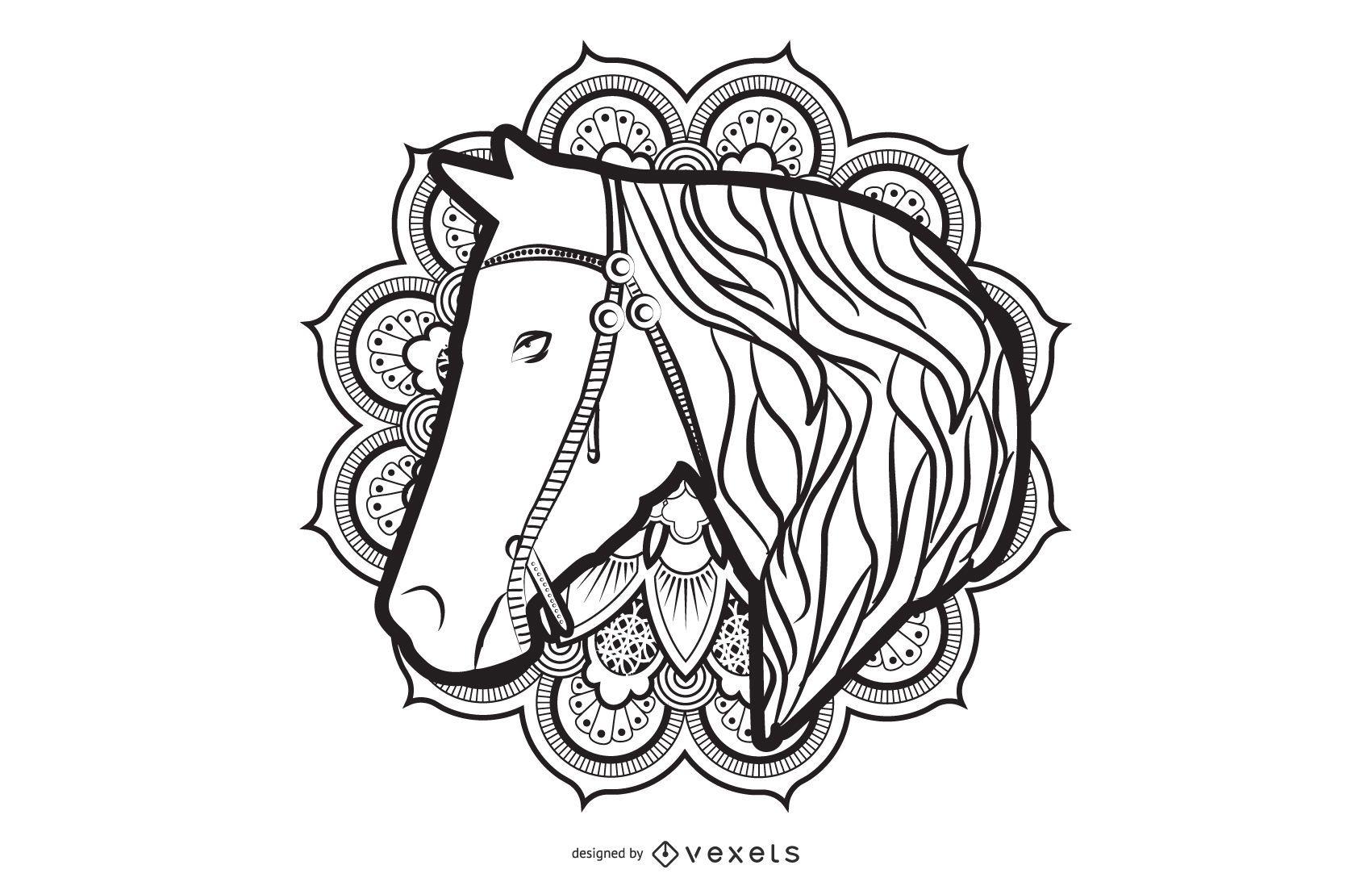 Diseño de caballo mandala