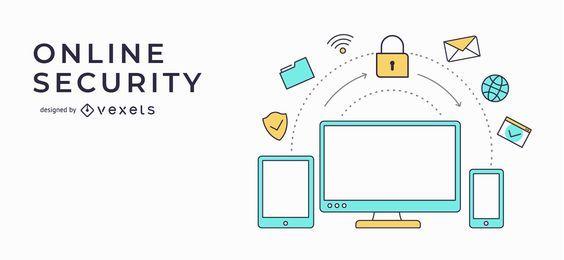 Ilustración de banner de seguridad en línea