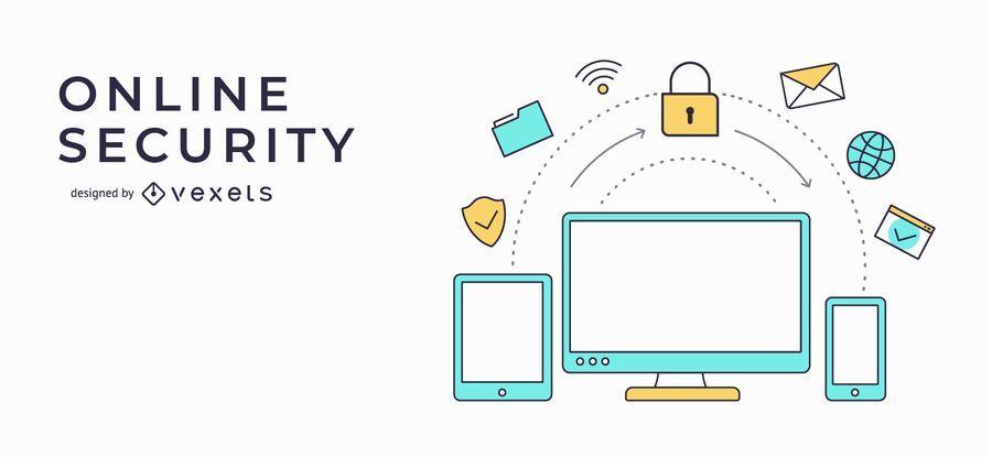 Online-Sicherheits-Banner-Illustration