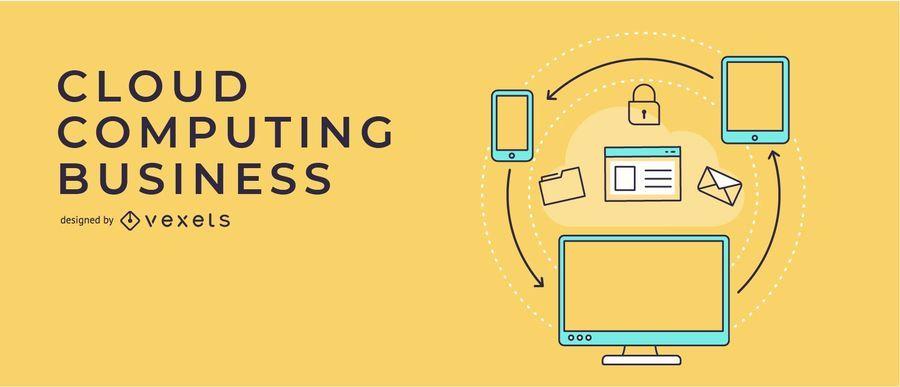 Ilustração de Banner de negócios de computação em nuvem