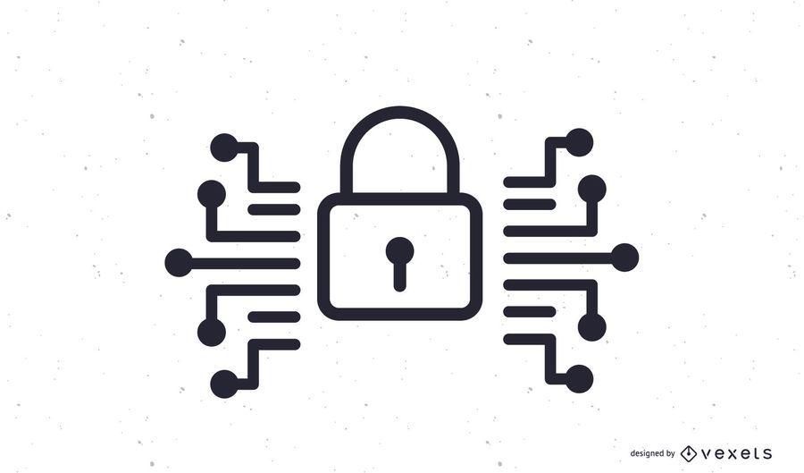 Sicherheits-Vorhängeschloss-Symbol