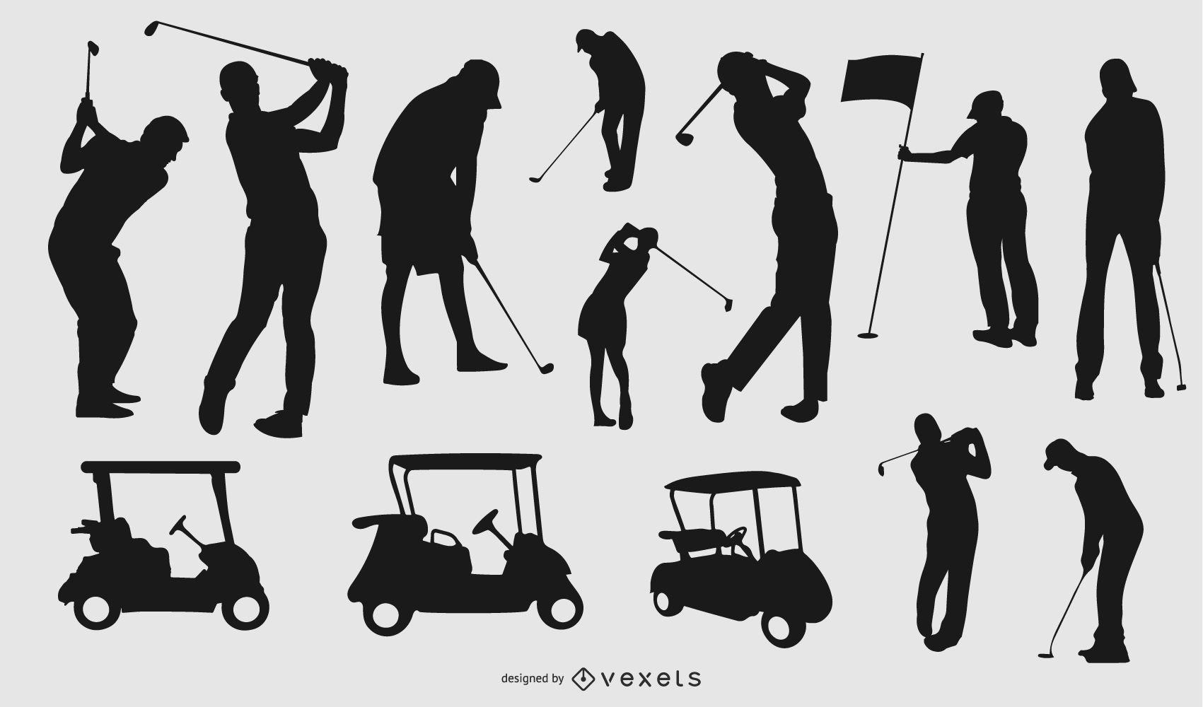 Silueta de elementos de golf