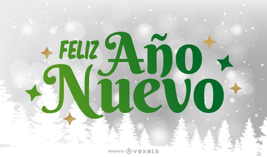 Feliz A o Nuevo Saudação Lettering