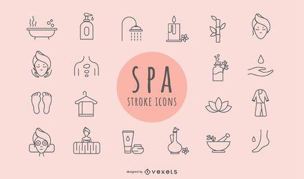 Iconos de trazo de elementos de spa