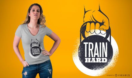 Trainieren Sie harte Untertitel-T-Shirt Design