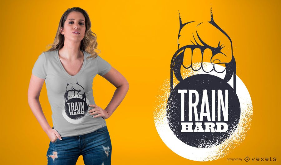 Train Hard Caption camiseta de diseño