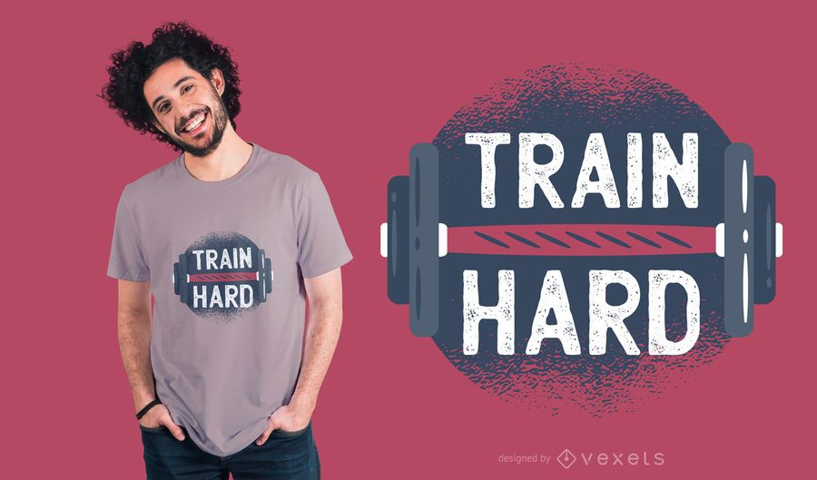 Tren duro con mancuernas camiseta de diseño