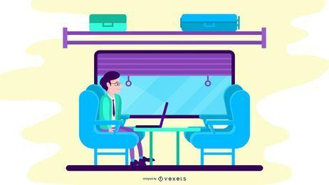 Ilustración de tren de clase de negocios