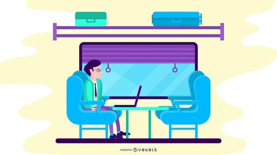 Ilustração de trem de classe executiva