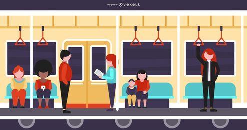 Dentro de um trem Ilustração plana