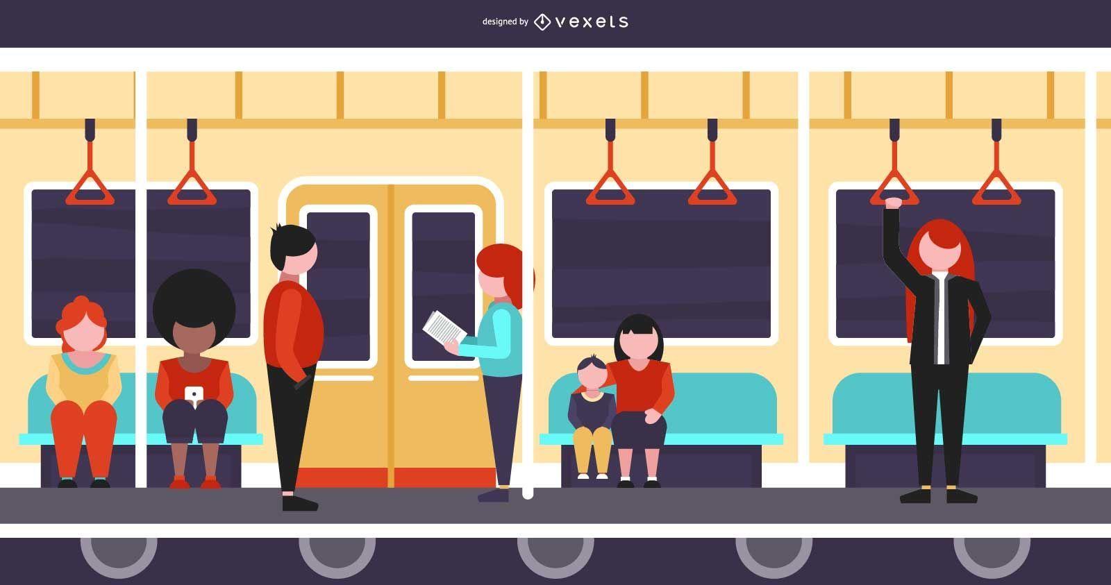 Inside of a Train flat Illustration