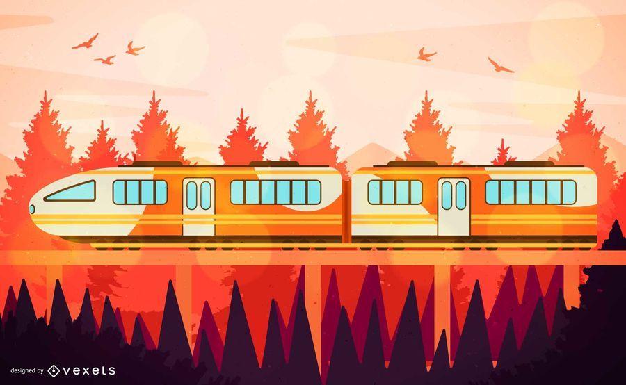 Laranja, viajando, trem, ilustração