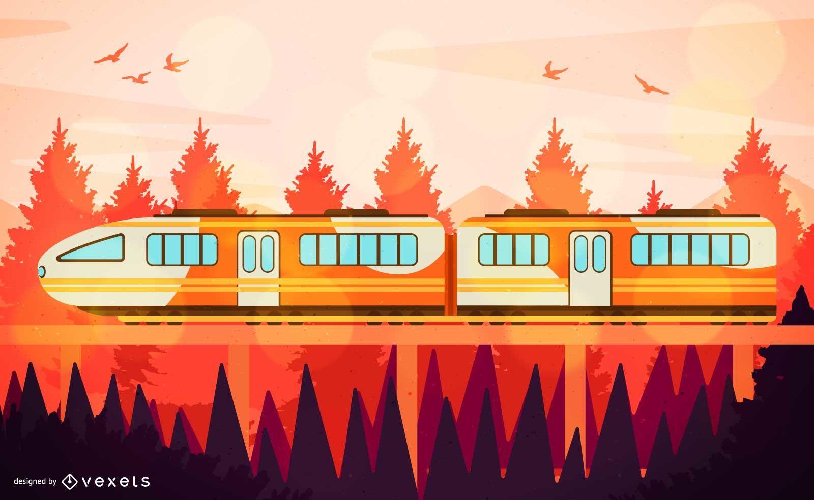 Orange Travelling Train Illustration
