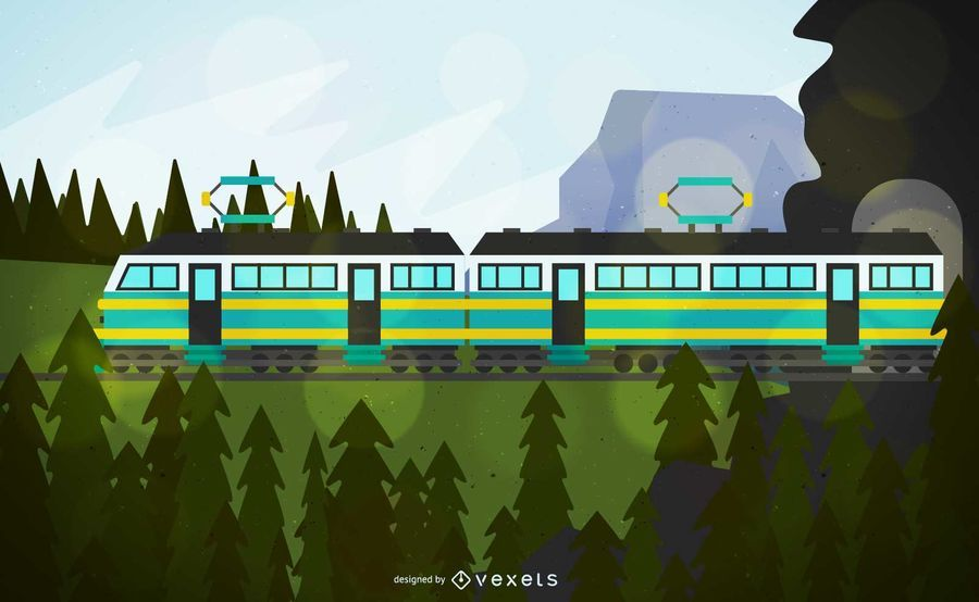 Cable Train Vehicle Illustration