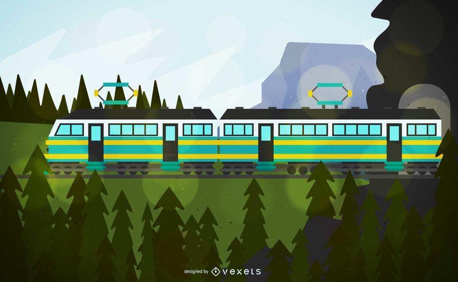 Ilustração de veículo de trem de cabo