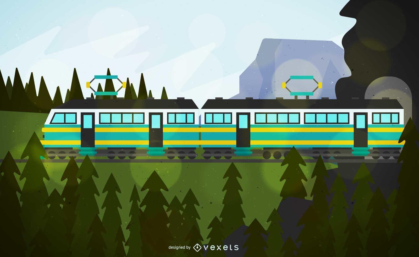 Ilustración de vehículo de tren de cable