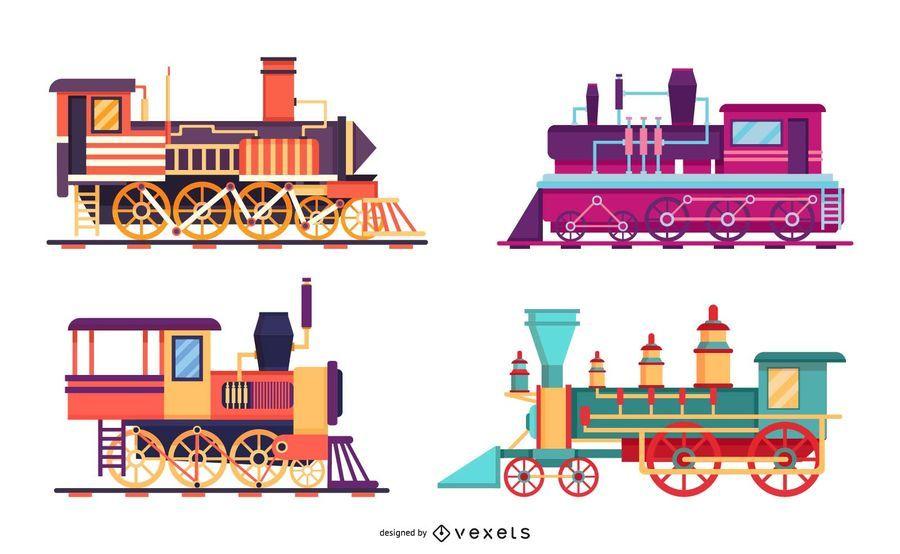 Conjunto de ilustración de tren vintage