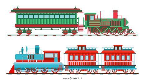 Conjunto de ilustração de trem de Natal vintage
