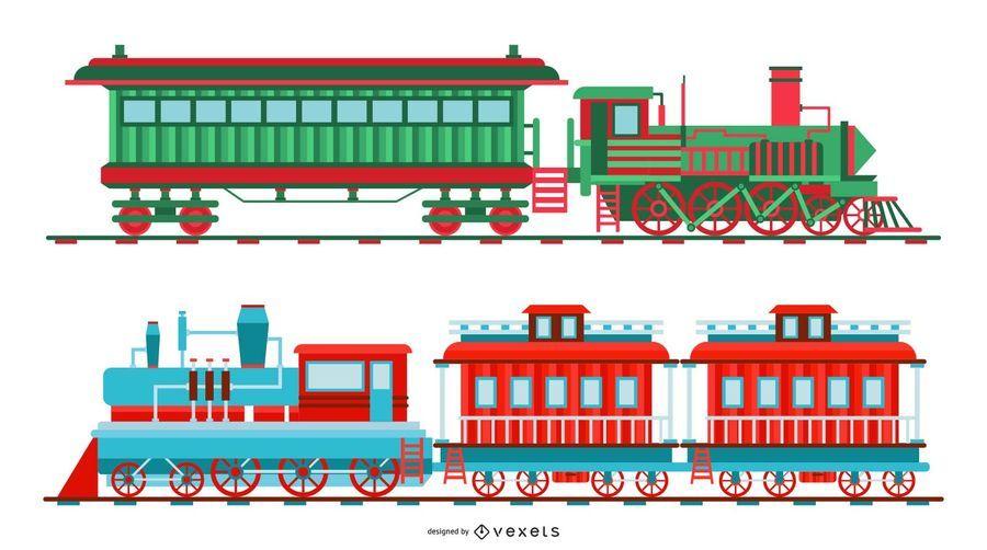 Conjunto de ilustración de tren de Navidad vintage