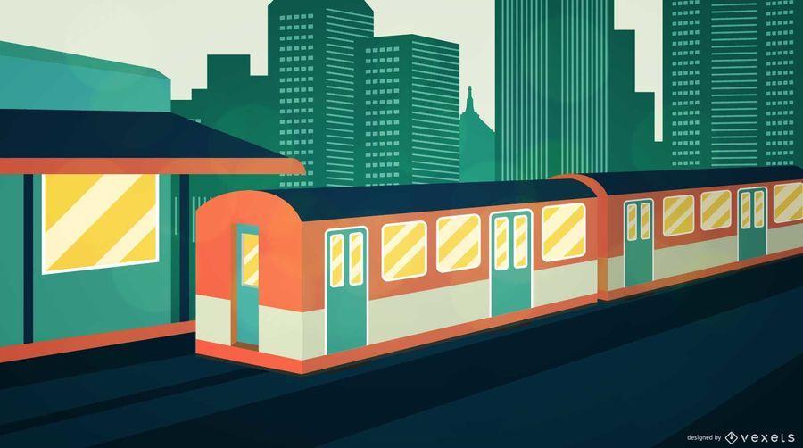 Ilustración de tren de la ciudad