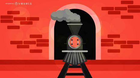 Ilustración de tren de vapor