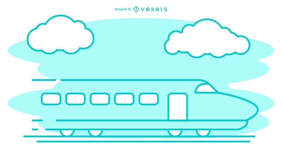 Bullet Train Stroke Illustration