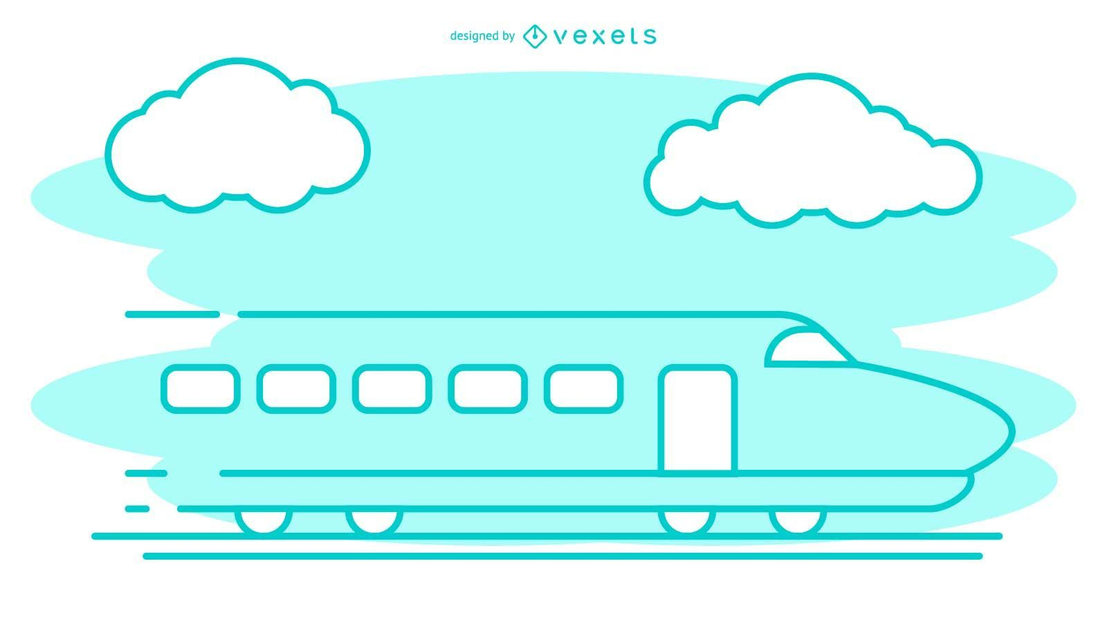 Bullet Train Stroke Illustration