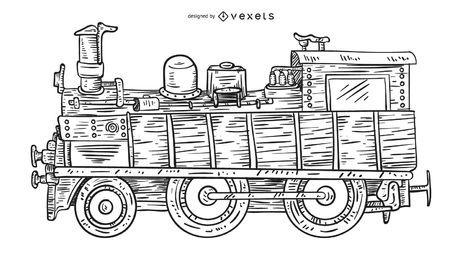 Trem vintage, mão, desenhado, ilustração