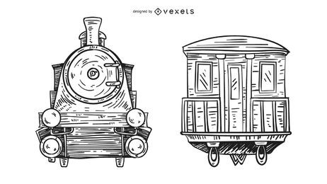 Front and Back Train Hand Drawn Illustration