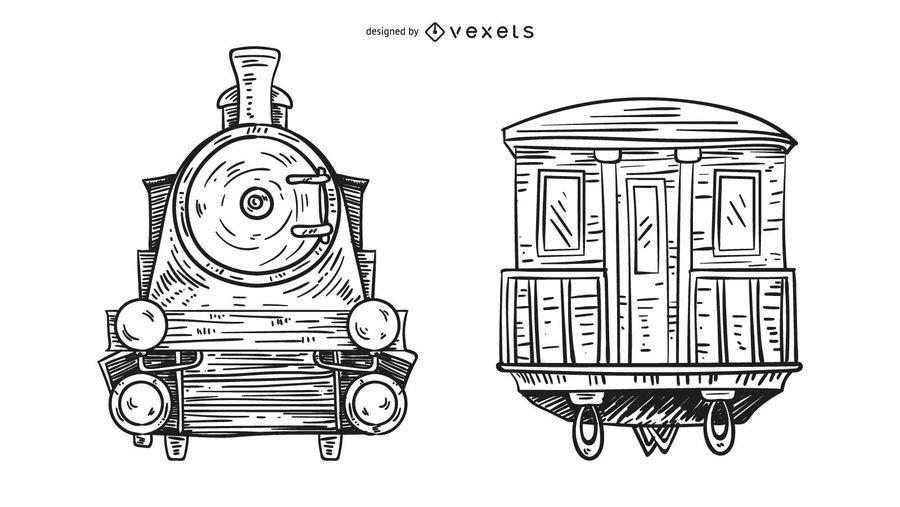 Frente y parte posterior del tren dibujado a mano ilustración