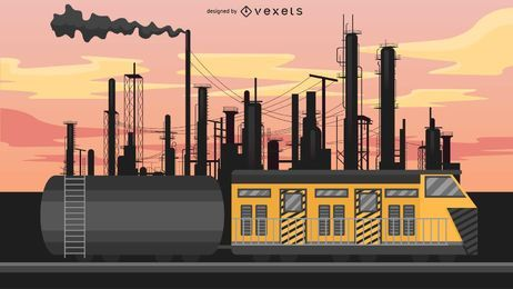 Ilustração de trem de carruagem