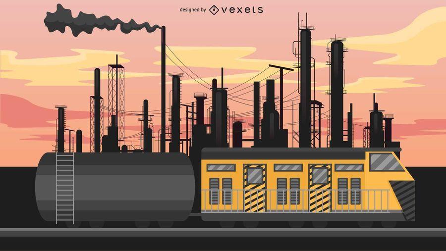 Ilustración de tren de transporte