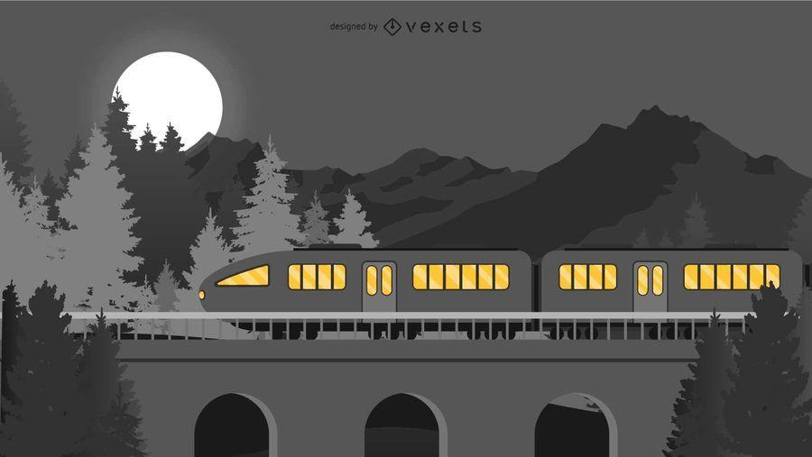 Travelling at Night Train Illustation