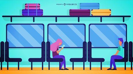 Ilustração de passageiros de trem em viagem