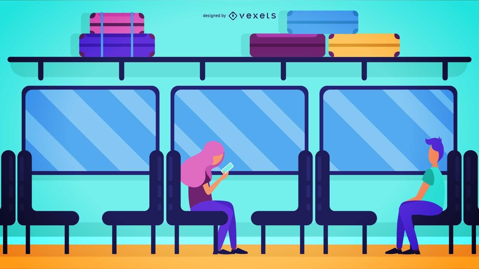 Travelling Train Passengers Illustration